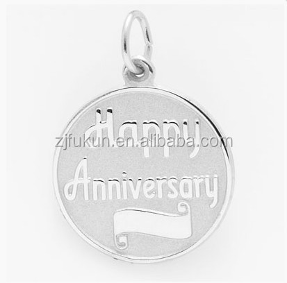 Happy Anniversary Disc Charm Letter Embossed Round Charm Logo Engraved Available Charm Bracelet