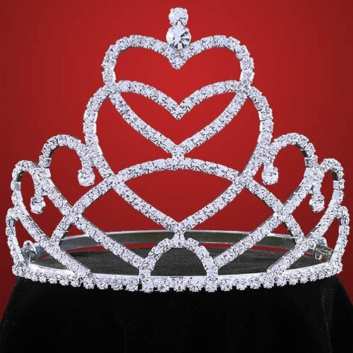 Fashion metal silver plating full rhinestones cheap pageant crown carnival tiara