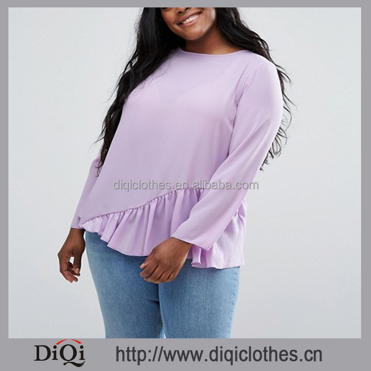 Fashion Cutting Plus Size Women Blouses Wholesale Boat Neck Asymmetric Ruffle Hem Long Sleeve Purple Plus Size Women Blouses