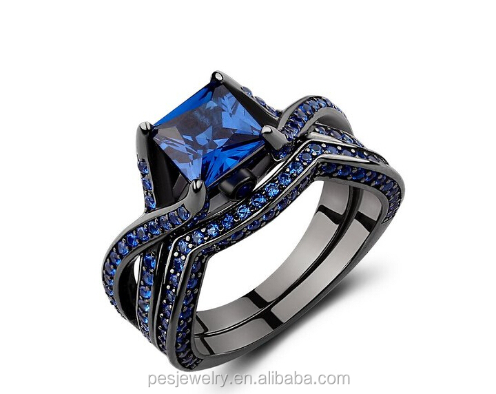 Factory wholesale wedding jewerly set Blue Sapphire Black Gold plated ring