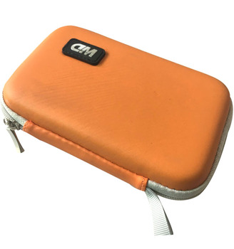 GC-Orange coloe fake leather EVA bag for digital USB Drive EVA bag