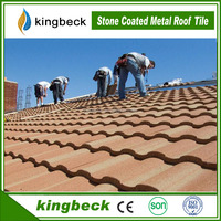 Kingbeck Roofing Colorful Stone Coated Metal Shingle for Roman Tile