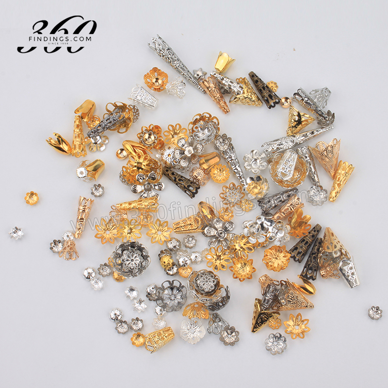 fashion finding gold filled long bead tube bead caps flower filigree bead caps in yiwu