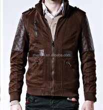 Latest Design Autumn Winter Fashionable Plain Padded Men's Denim Jacket Leather Sleeve
