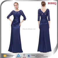 2015 Latest Navy Blue Long Lace Evening Dress With Long Sleeve