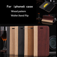 luxury wood cover for apple 6s stand flip pu leather for iphone 6s case