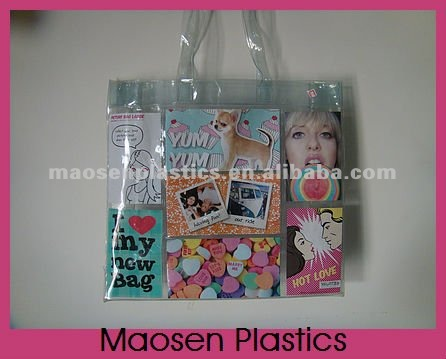 Plastic waterproof tote bag suitable for shopping can add photos