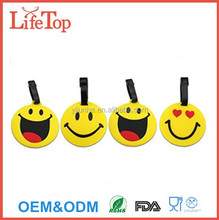Emoji Smiling Face Travel Luggage Tags Bag ID Tag with Strap