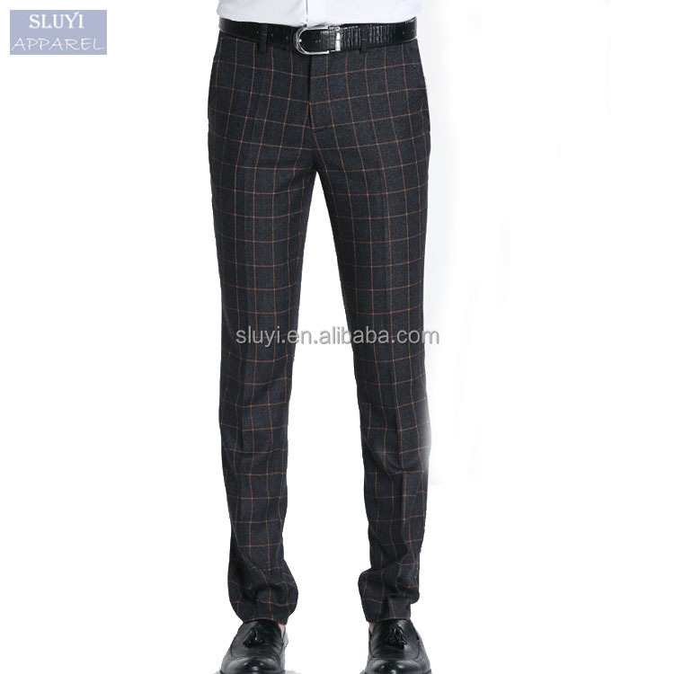 men pants trousers New Style Spring Slim Fit Straight Skinny suit pants black plaid business Fashion latest style men pants