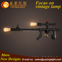 industrial water pipe wall light,wrought iron gun shape wall lamp,indoor wall sconce decoration design