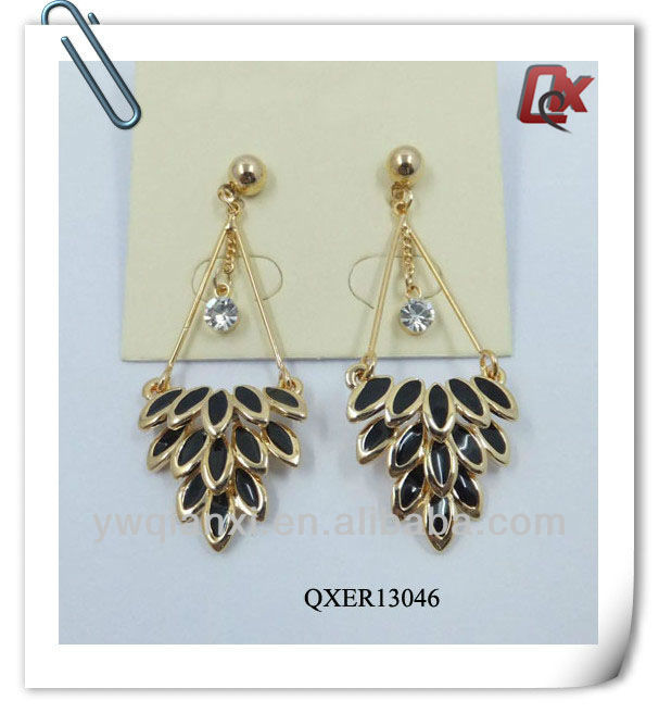 Large crystal and graduated brass earrings sexy