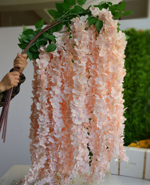 164cm length soft material artificial wisteria flower for wedding decor