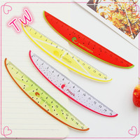 hot sale lovely personalized 17cm fruit shaped plastic ruler with handle stationery from china important