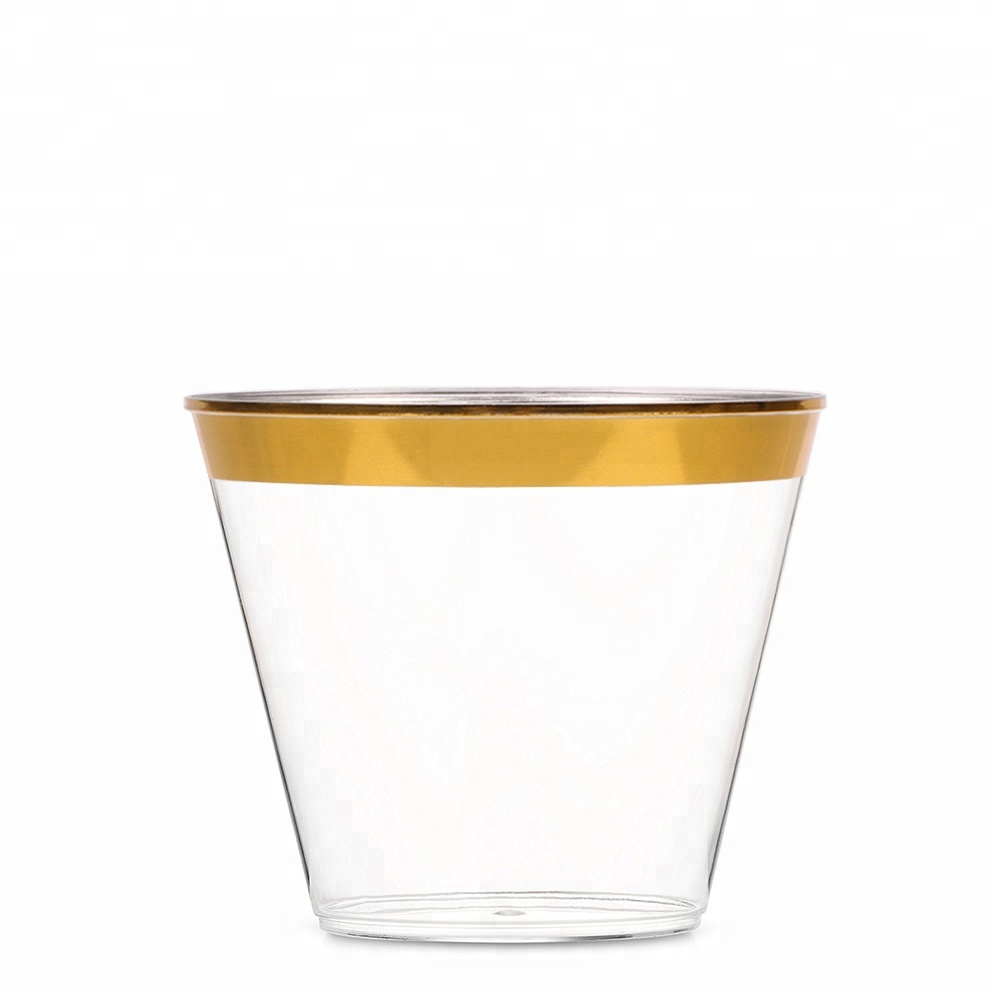Hot Selling Eco-friendly Rose Gold Rim 9 oz Disposable Plastic <strong>Cup</strong>
