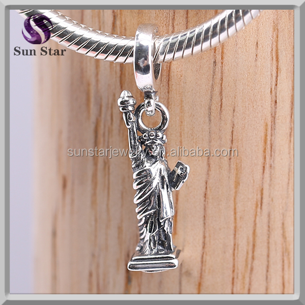 Sterling silver european Lady Liberty Charm Genuine new york dangle freedom symbol Charm Bead For European Bracelet