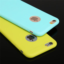 New 2017 Candy Colors Silicon Cute Phone Case For iPhone 6 7 Plus 5 inch TPU Mobile Phone Case Coque With Logo Window