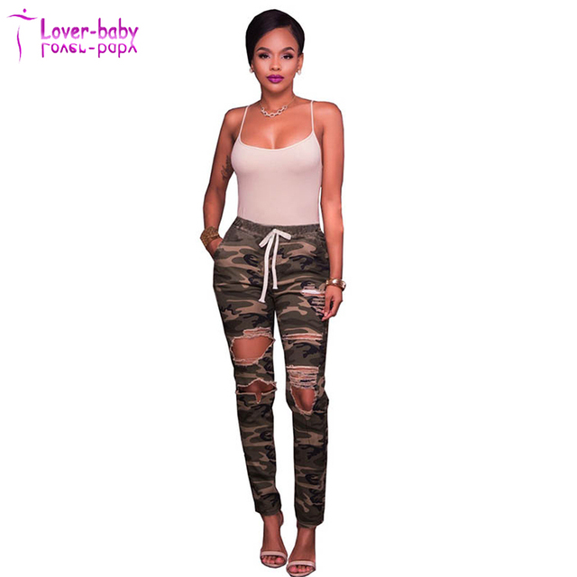 Women Drawstring Destroyed Camouflage Long Pants Stretch Denim Jeans with Pockets