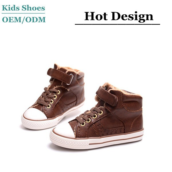 Fur lining rubber sole winter walking childrens high top shoes 2015