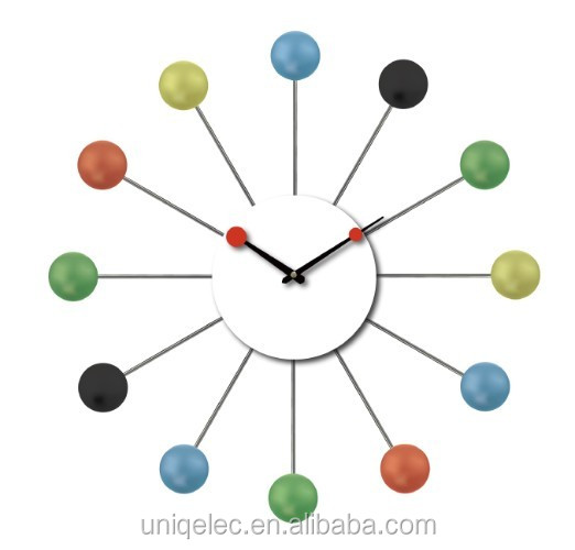 Wood ball decor home wall clock for modern