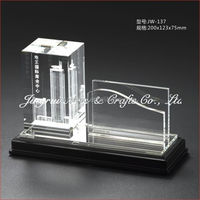 2016 glass 3d laser cube card holder with factory price