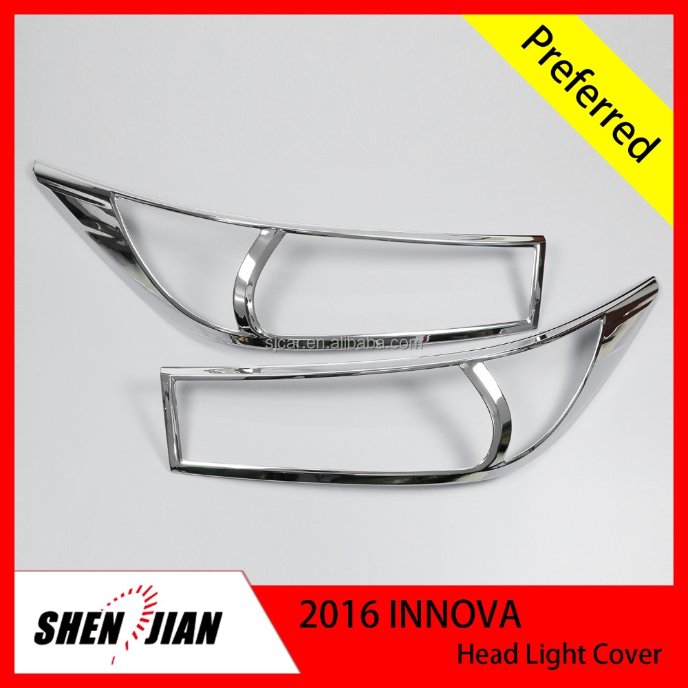 2 Pcs Used Head Lamp Cover For Toyota 2016 INNOVA NEW Car Front Lamp Cover by ABS chrome Auto Exterior Accessories