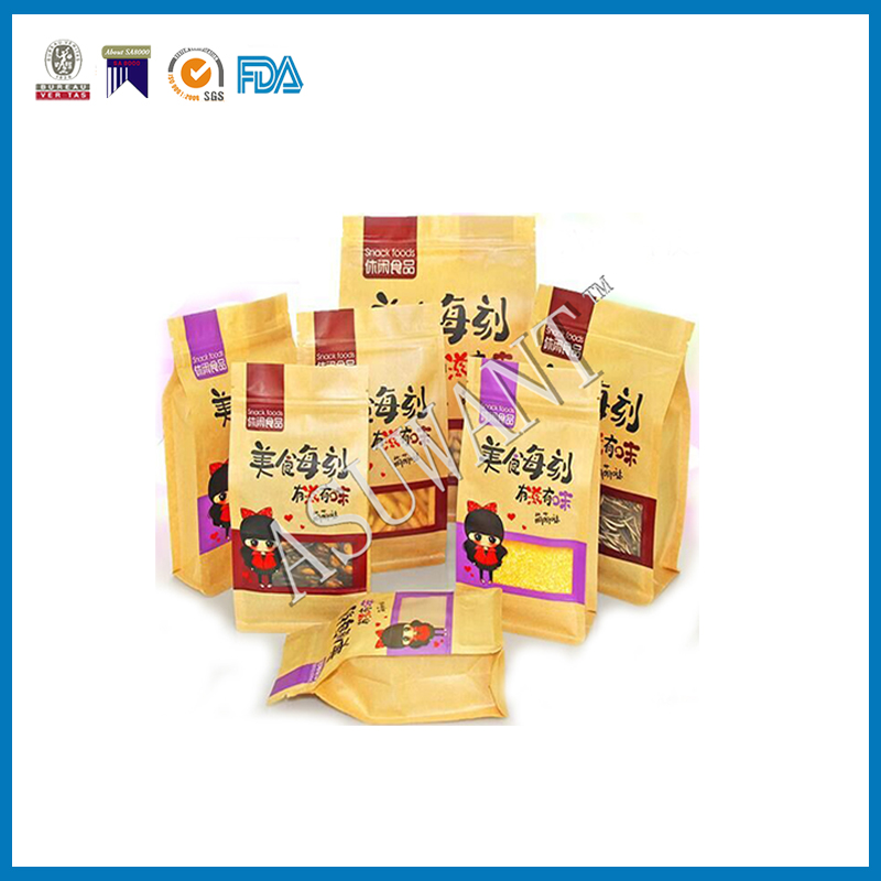 2016 china wholesale food plastic kraft paper stand up bag for food ,coffee, tea,snack