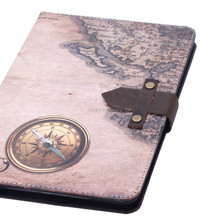 Map and Compass pattern high quality leather cover for ipad mini,for ipad mini 4