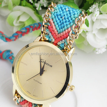 Handmade Gold Plated Braided Friendship Bracelet Watch For Lady