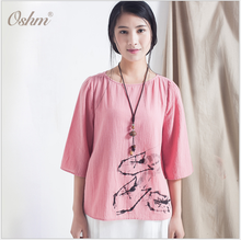 Trendy new style cotton appreal summer elegant pink blouse