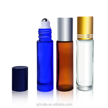 10ml blue clear amber essential oil glass roll on bottle with stainless steel roller ball