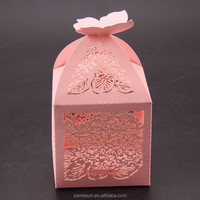 Butterfly and flower laser cut paper candy box for wedding favor