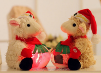 snow LED Christmas sheep plush toy/factory direct sale cute light up sheep stuffed toy/light up plush animals