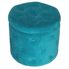 No Folded Upholstered Ottoman with Storage Round Pouf