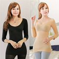 In the sleeves of the low collar round thin chest seamless body abdomen perspective body sculpting clothing NY035