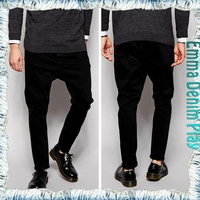 Fashion Customized Size Baggy Soild Black Pent Men Design Casual Jeans