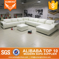 hot sale new design american style living room 8 seater full white leather sofa set