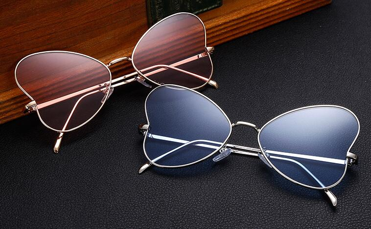 Fashion Ladies Butterfly Sunglasses Unique Heart Shaped Flat Panel Glasses H1625