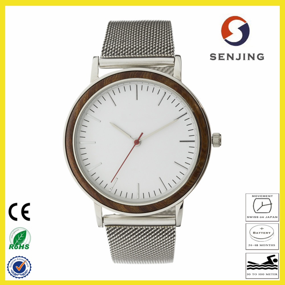 2017 new arrival bewell custom bezel wood watch factory wholesale mesh steel band watch