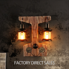 Loft Industrial Bar Restaurant Wooden art Retro nostalgia Wall lamp Study Bedroom Bedside lamp