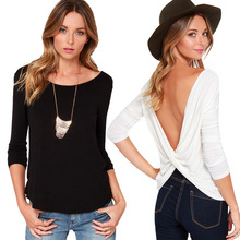 ZH0692C OEM Women Casual Off Shoulder Backless Sexy T-shirt Shirt Blouse Tops