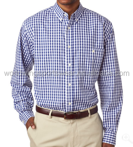 Mens easy-care 55% cotton/45% polyester with a button-down collar, button-through patch pocket patterned dress shirt