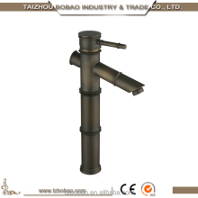 China Factory Low Price Matte Black Single Hole Deck Mounted Antique Brass Bamboo Design Bathroom Faucet