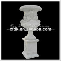 Outdoor Hand Carved White Marble Flower Pot