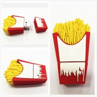French Fries chips PVC rubber custom 3d usb flash drive 8GB