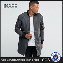 MGOO Custom Brand Men Longline Bomber Jacket With MA1 Sleeve Pocket Longline Zipper Coat