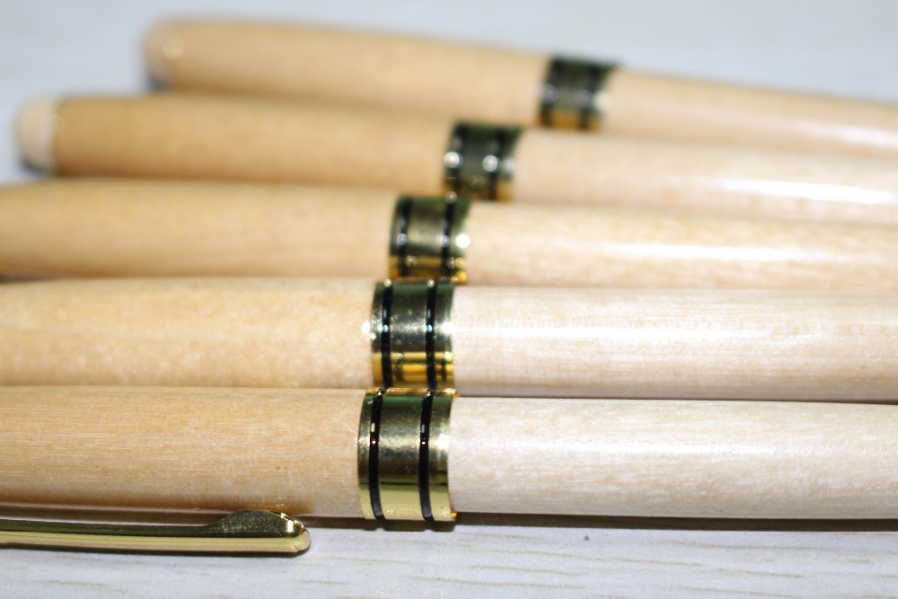 White Wood ballpoint pen Wooden recycled Eco pen high quality wood ballpoint pens with gold parts