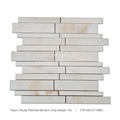Paper Cloudy Random Strip White Mosaic Tiles