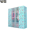 Cherry blue DIY plastic wardrobe assembled by panels and brackets
