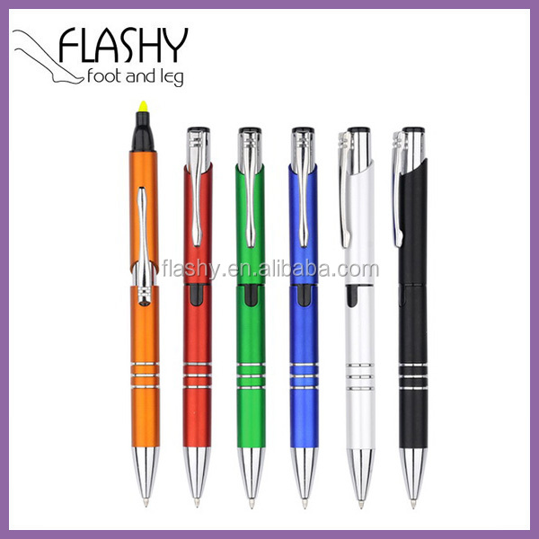 Promotional 2 In 1 Highlighter Pen Highlighter Ballpoint Pen Cheap 2 In 1 Highlighter And Ballpoint Pen