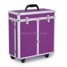 Dog Grooming Tool Case with Wheels Purple,aluminum grooming case